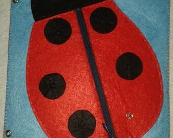 Ladybird activity, educational book, interactive book, silent book, quiet book, book of felt, Quiet Book, Busy Book