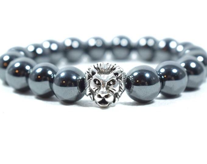 Men's Hematite Bracelet with Silver tone metal Lion Head bead.
