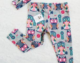 Baby leggings, baby girl owl legfings, baby girl gift
