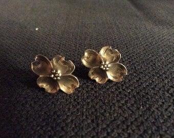 Vintage 1940's/50's Southwestern Sterling Silver Screw-Back Dogwood Blossom Earrings, Signed