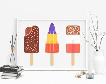 Ice lolly art print / Ice cream art print / wall art print / wall décor / kitchen decor / office decor / Giclée print