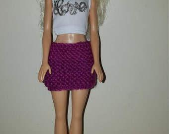 """Barbie mini skirt. Hand knitted. Made to fit Classic Barbie and other dolls of a similar size (11-12"""")"""