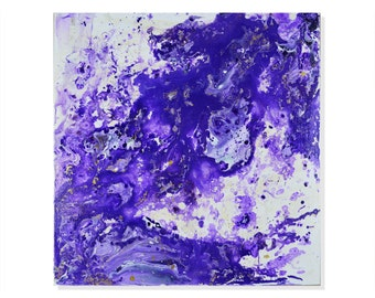 Purple Pill - Unique Abstract Acrylic Painting - 20x20""