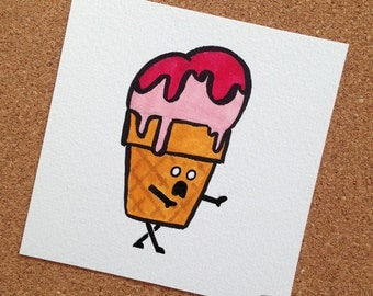 Zombie Ice Cream Sketch Card
