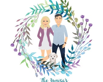 Simple Family Portrait With Wreath (Digital File)  | Couple Portraits | Anniversary | Personalised Gift | Mothers Day Gift