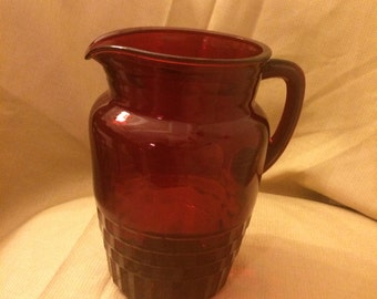 Anchor Hocking Ruby Red Royal Windsor Pitcher