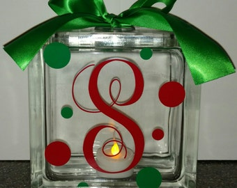 Personalized Glass Block with Tea Light & Bow
