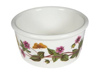FREE SHIPPING: Portmeirion Botanic Garden Ramekin - Vintage Small China Butterfly and Floral Straight Sided Dish/Bowl