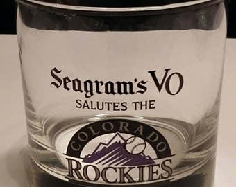 Vintage Seagrams Colorado Rockies Glasses. Seagrams VO commemorative rocks glasses