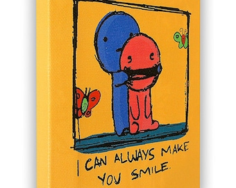 "I Can Always Make You Smile - On a Stretched Wooden Canvas Frame - 8"" x 7"" x 05"" (Orange)"