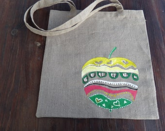 Linen Bag,tote bag,hand painted