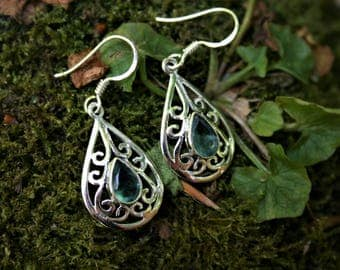 Celtic Style Earrings With Apatite
