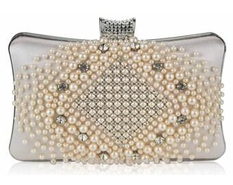 Champagne Beaded Pearl Rhinestone Clutch Bag - Bridal Prom BAG19