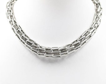 Funky Silver Interlinked Choker Necklace