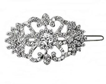 Silver and Crystal Hair Clip Bride Bridesmaid