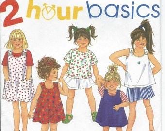 Simplicity, 8313, Sewing Pattern, Girls Shorts, Tee, Shirt Dress, Girl, Jumper Dress, Girls Overall Dress, Vintage, 1996, Summer, Clothing