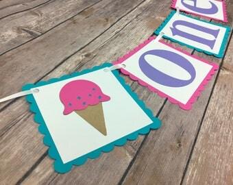 ONE Ice Cream Highchair Banner