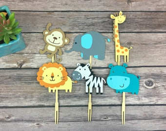 Safari Animal Cupcake Toppers, Zoo Animal Toppers, First Birthday, Baby Shower