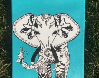 Hand drawn elephant painting