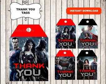 Batman vs Superman Thank you Tags instant download , Batman Thank you Tags, Printable Superman tags