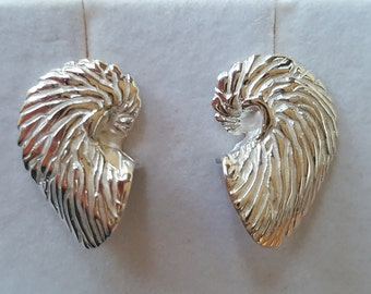 Nautilus Shell Earrings in Sterling Silver