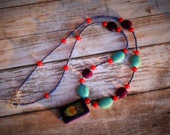 Beaded Owl Necklace, Owl Necklace, Purple Beaded Necklace, Red Beaded Necklace, Turquoise Necklace, Owl Charm Necklace, Purple Necklace