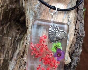 Real Flower & Charm Pendant