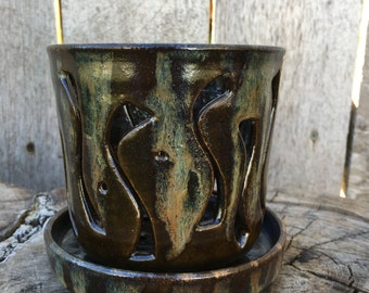 Small Brown Orchid Pot with SSSS Design