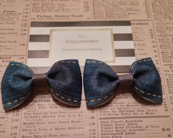 Jeans Hair Bows, girls hair bows, toddler hair bows, party favors, stocking stuffers