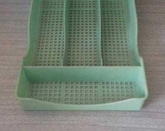 Vintage Jade Green Cutlery Divider Drawer Organiser
