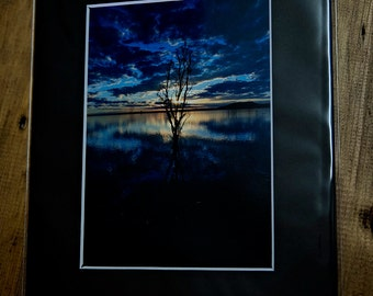 Matted 5 x 7 picture, blue moods, blue sunset, fine art print