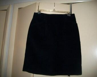Vintage 90s Eddie Bauer Black Corduroy High Waist Skirt Size 10