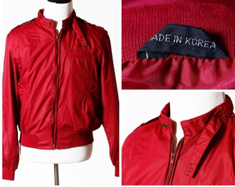 Vintage Men's Jacket Cafe Racer Maroon - 80's Retro Members Only Style Windbreaker Wind Breaker Men's Small S