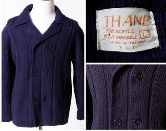 Vintage Men's Cardigan Sweater Thane - 80's Retro Double Breasted Navy Blue Large L
