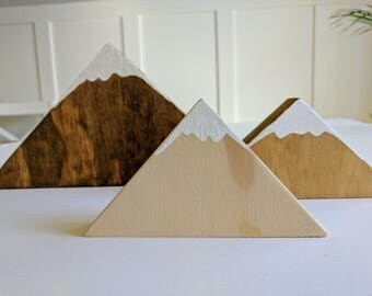 Wooden mountains - paint - stain - woodland - kids room - shelf decor