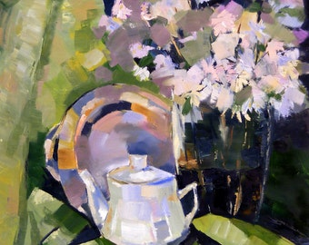 Print,still life,still life in green,vase with flowers,flowers,kettle,plate,painting,kitchen decor,print on canvas, 19,6x 23,6in. (50x60cm)
