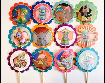 12 Dumbo birthday party, Dumbo baby shower, Dumbo party favors, Dunbo cupcake toppers OR party tags, Dumbo birthday decorations