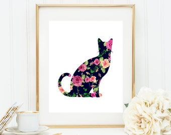 American Shorthair Print, Bombay Cat Art, Burmese Cat Art,  Chartreaux Cat Poster,  Egyptian Mau, Floral Cat Art, Shabby Chic Cat