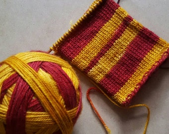 Hand Dyed Self Striping Sock Yarn ~ House Colors -  Gryffindor - Red and Gold