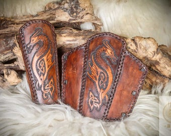 Viking Dragon Bracer real leather. 100% Handarbeut L size, 1 few LARP, fantasy,.