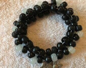 Black and glow in the dark beaded bracelt cute metal deer charm kandi bead triple