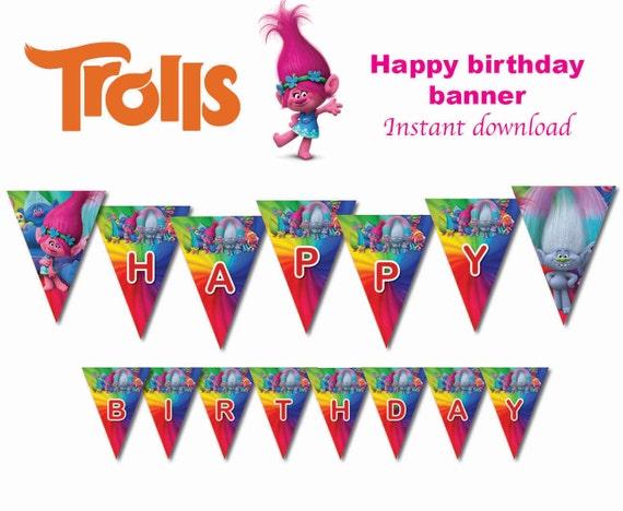 Instand Dl Trolls Flag Banner Bunting Happy Birthday Banner