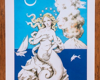 Santa Sirena - Giclée print, dolphin, volcano, sailing boat, mermaid