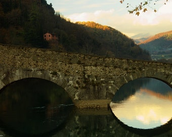 Il ponte del diavolo Part 2 - Art photography - Bridge devil - Reflections panorama- panorama - Tuscany photo - Italy - Medieval - Autumn