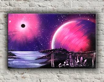 purple orange space galaxy painting - photo #37