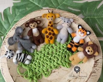 Felted newborn stuffy safari collection