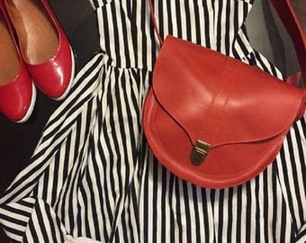 Red leather bag, red leather shoulder bag, red leather bag sale, gift for her, leather shoulder bag for her, leather bag cross the body