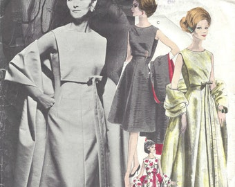 1962 Vintage VOGUE Sewing Pattern B32 Dress  & Stole  (1341) By NINA RICCI