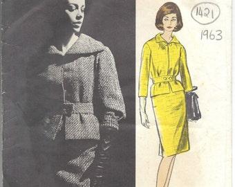 1963 Vintage Vogue  Sewing Pattern SUIT SKIRT & JACKET B34 (1421) Pierre Cardin