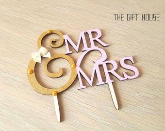 Wedding cake topper handmade, wedding decor, wooden cake topper, pink and gold